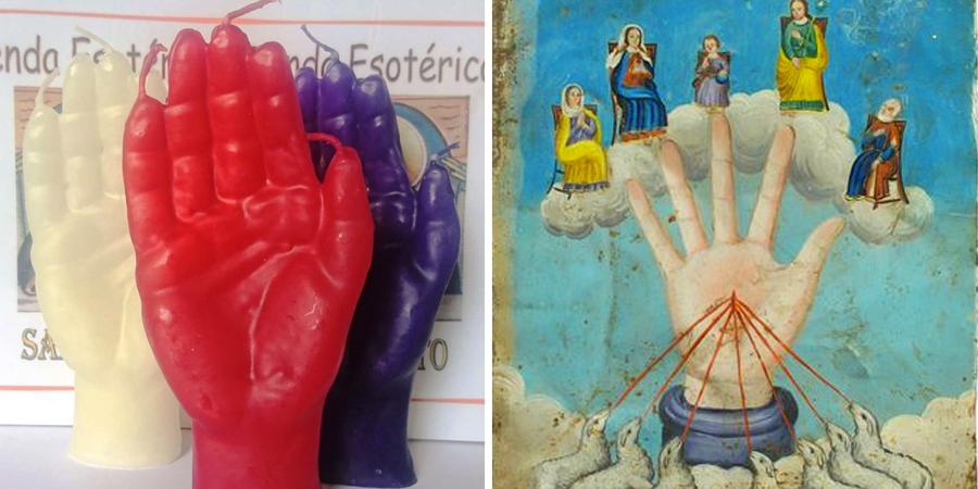 Velas de la mano poderosa