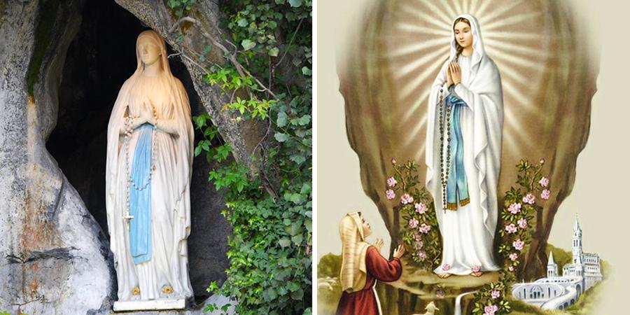 Estatua de la virgen de Lourdes