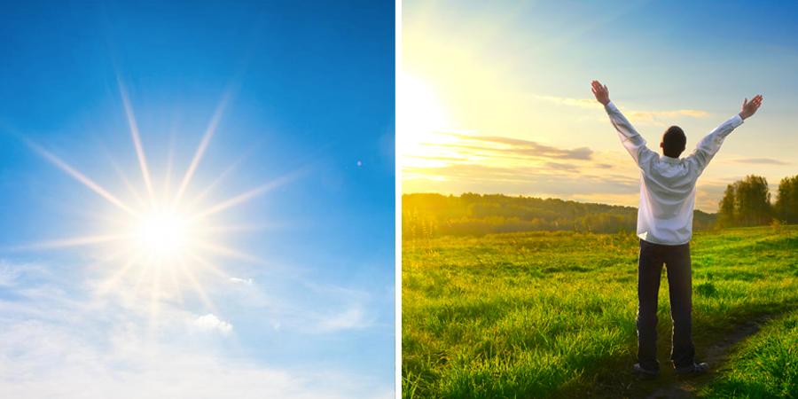 Hombre orando en día soleado