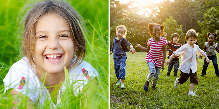 Niños jugando y sonriendo