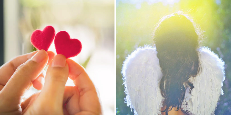 pequeños corazones y un ángel