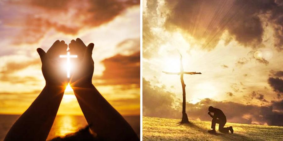 Persona orando al lado de una cruz