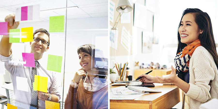 Personas trabajando felices