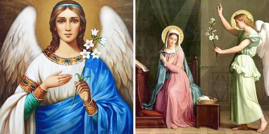 San Gabriel y la Virgen María