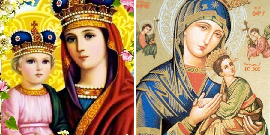 Virgen del perpetuo socorro con niños